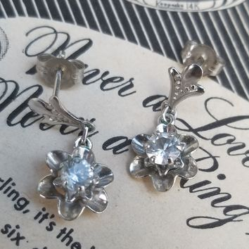 ZZ signed white gold filled drop flower and CZ vintage mid century earrings 1/20 12kt GF