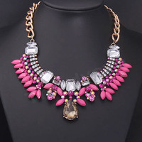 High Quality Rose Red Crystal Statement Necklace