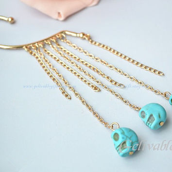 Skull ear cuff earrings,turquoise skull bead earrings, tassels cuff earrings ECS01