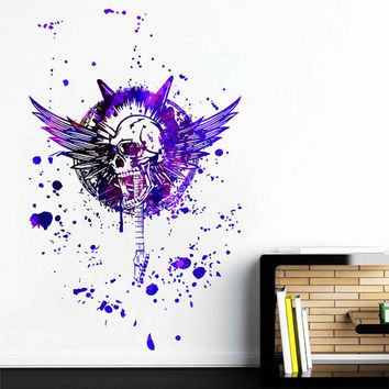 kcik1745 Full Color Wall decal poster space Watercolor paint splashes Rock guitar skull Living room bedroom
