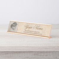 Vintage design with your photo. Add your text. Desk Name Plate