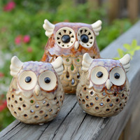 Cute Owl Ceramic Hollow Candle Holder