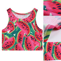 Watermelon Fruit Pattern Sleeveless Crop Tank Top