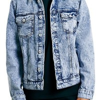 Men's Topman Acid Wash Denim Jacket,