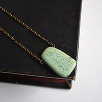 Turquoise Minimal Necklace. Pale Green Stone Necklace. Turquoise Rectangle on Brass Chain. Canadian Shop