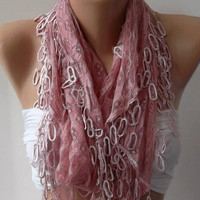 Mother's Day gift Elegant scarf/shawl soft pink lace scarf