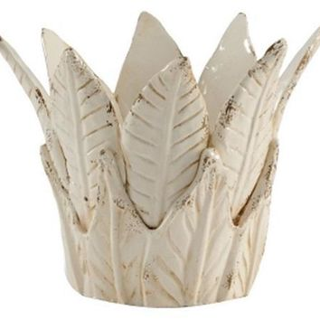 CHELSEA HOUSE Antique White Glaze Hand Made Leaf Cachepot
