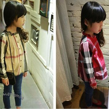 New Classic Plaid Kids Girl Shirt Fashion Top Quality Full Sleeve Girls Blouse Children Shirts Costumes For Girls camiseta B0706