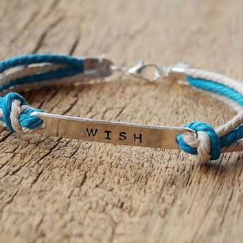 Hand stamping wish bracelet, Engraved letters bracelet, cotton rope bracelet, Personalized bracelets, Best Gift for him Personalized Jewelry