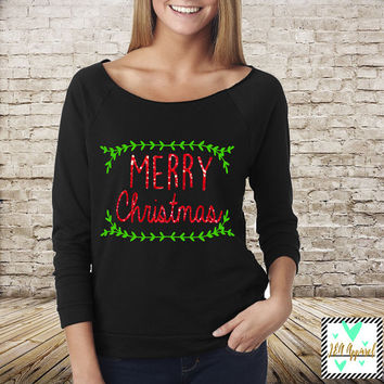 Christmas Shirt - Merry Christmas Shirt with Glitter Accent - Winter Shirt - Slouchy Off The Shoulder 3/4 Sleeve Shirt - Christmas Sweater