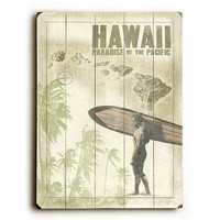 Hawaiian Surfer by Artist Wade Koniakowsky Wood Sign