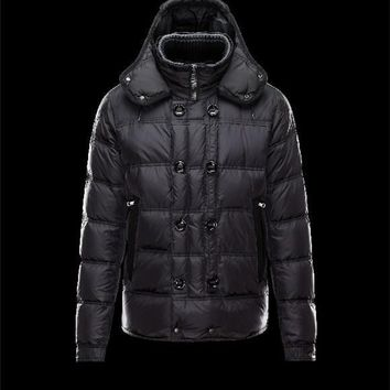 Moncler ALFRED Detachable Knit Collar Black Jackets Nylon/Polyamid Mens 41380992WK