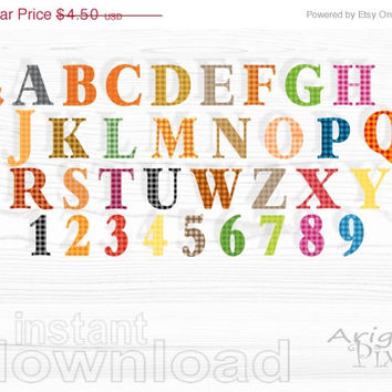 WEEKEND SALE 50% OFF alphabet clip art set , gingham alpha clipart, warm fall colors, letter and numbers, commercial use digital elements, i