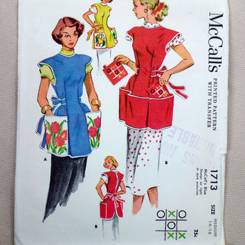 McCall's 1713 Vintage Cobbler apron sewing pattern 1950s Size Medium Tic Tac Toe Transfer Potholder 1952 Bust 32 34