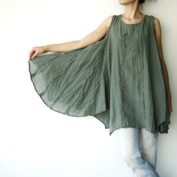 NO8 Olive Green Cotton Asymmetric Hem Top by JoozieCotton