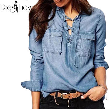 Autumn Fashion lace up denim shirt women blouses long sleeve casual top 2016 pockets jeans women's shirt bandage clothing blusas