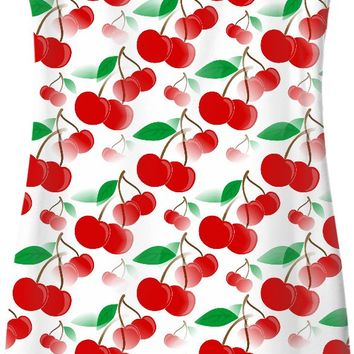 Colorful cherries pattern casual dress, fruits themed simple dress, spring design