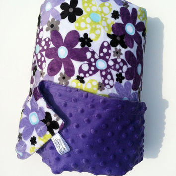 Toddler Minky Blanket Lime Green Purple Flower Minky Dot Back  Girls Toddler Bedding 40 x 50 in