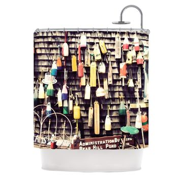 "Jillian Audrey ""Hanging Buoys"" Brown Multicolor Shower Curtain - Outlet Item"