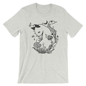 Cat And Snake T-Shirt, Unisex Graphic Shirt On White