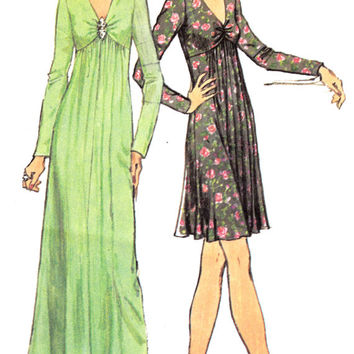 1970's Misses Dress Evening or Cocktail Length Simplicity 6024 Vintage Sewing Pattern Bust 36""