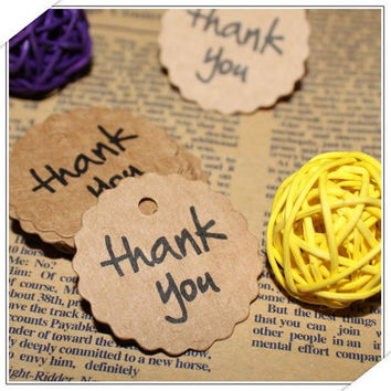 50pcs Kraft Paper Thank You Gift Tags Wedding Favors Party Accessories Christmas DIY Burlap Wedding Vintage Wedding Decoration