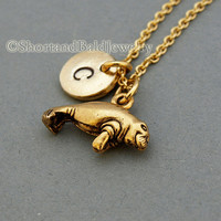 Manatee charm necklace, antique gold, initial necklace, initial hand stamped, personalized, monogram