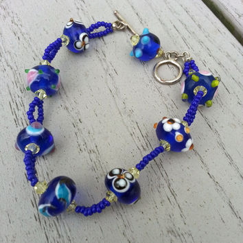 Cobalt Blue Millefiori and Bumpy Glass Bracelet, Fun Jewelry, Gift for Her