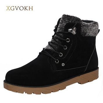 Footwear Winter Men Keep Super Warm Boots Plush Cotton Lace Up Casual Ankle Snow Boots