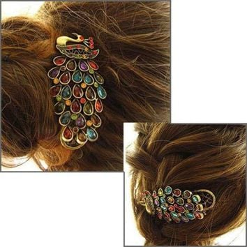 1 PCS Fashion Girls Women Vintage  Colorful Rhinestone Peacock Hairpins Hair Clip Sale 2016 Hair Accessories