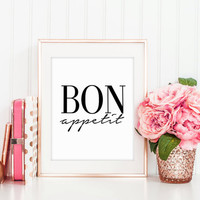 BON APPETIT SIGN,Kitchen Art,Home Decor,Wall Art,Restaurant Decor,Inspirational Quote,Motivational Print,Digital Print,Printable Art,Instant