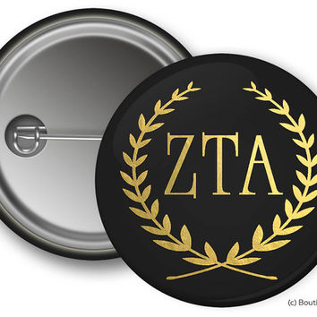 ZTA Zeta Tau Alpha Wreath Sorority Greek Button
