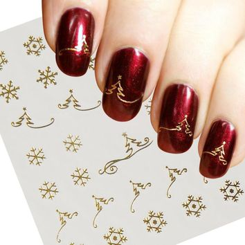 1pcs Gold  Water Transfer Nail Art Sticker Decal Cute Snowflake Christmas Tree New Year Designs DIY Shining Manicure SAY037-gold