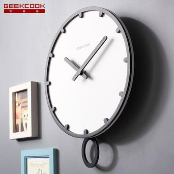 Swing large wall clock modern design 3d vintage living room Wooden White 12 14 inch clock