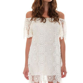 Carmen crochet dress in natural
