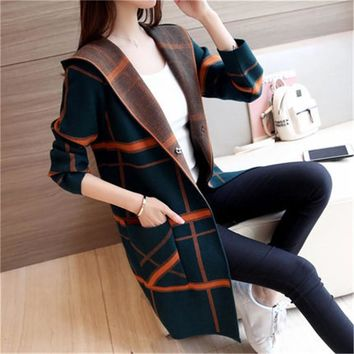 2018 Autumn Winter New Women Korean Long Section Knitted Cardigan Hooded Coat Wild Sweater Coat Female Spring Jakcets A1253