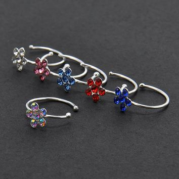 New Small Thin Flower Clear Crystal Nose Ring Stud Hoop-Sparkly Crystal Nose Ring Free shipping