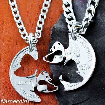 Panda Necklace set, Interlocking Couples Necklaces by Namecoins