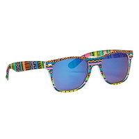 Ethnic Print Retro Sunglasses With Mirrored Lenses - Multi