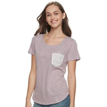 Juniors' SO® Crocheted Pocket Tee | null