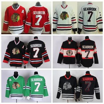 Cheap Chicago Blackhawks Brent Seabrook Jerseys Home Red Cheap Mens 7 Brent Seabrook Hocey Jersey Winter Classic Black 75th Stitched A Patch