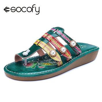 Socofy Bohemian Vintage Style Toe Sandals