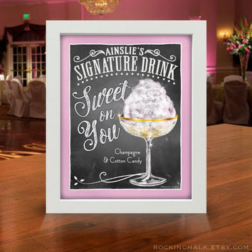 Her Signature Drink Signs | Chalkboard Style | Wedding/Shower/Rehearsal Dinner Decoration UNFRAMED Art Print Events, Birthdays, Unique Gift