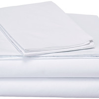 DaDa Bedding Luxury Solid Soft White Linen Fitted & Flat Bed Sheets Set with Pillow Cases Sham Covers (FSFS098765)