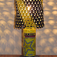Rockstar Energy Can Lamp With Black and Yellow Tab Lampshade - The Perfect Guy Gift