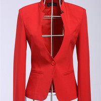 New 2018 Female Blazers Feminino Formal Blazer Jackets Outwear Coat Tops Clothes Business Women Blaser Work Wear Clothing Red