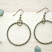 Antique Bronze Hoop Earrings, Dangle Hoops, Double Hoop Earrings, Modern Jewelry, J163