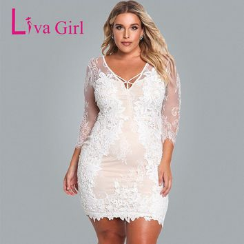 Liva Girl 2018 White Navy Plus Size Floral Lace Embroidered Mini Dress Elegant 3/4 Sleeve Retro Stretchy Cocktail Bodycon Dress