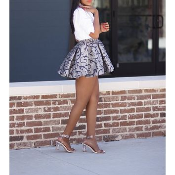 APPEALING Silver High Waist iAMMI Pleated Skirt