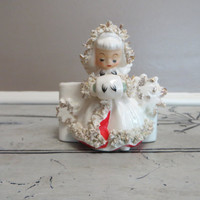 1958 Holt Howard Angel Planter Christmas Decor Christmas Angel Vintage Holiday Decor Angel Vase HH Porcelain Spaghetti Trim Planter